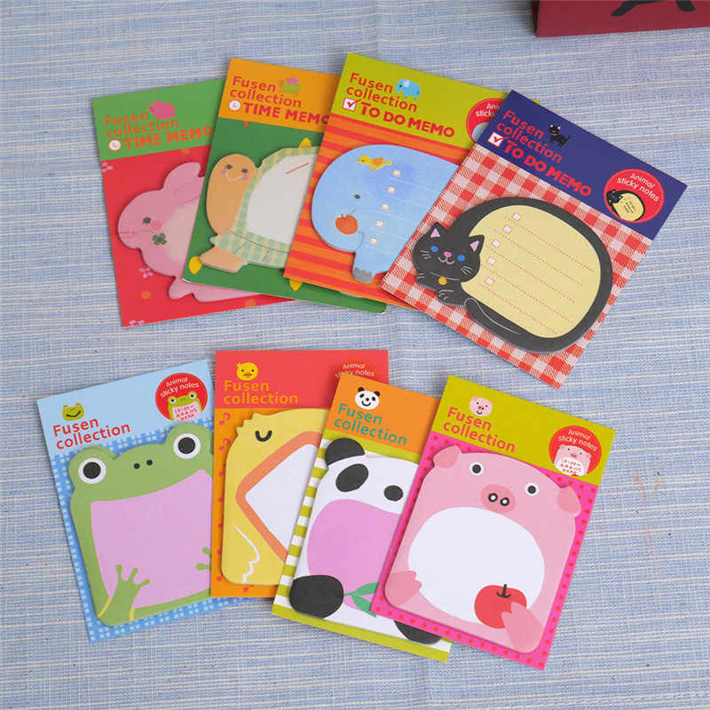 Bloc-Notes en papier mignon de belle série d'animaux de papeterie, autocollants Post bloc-Notes autocollants kawaii fournitures de bureau scolaire