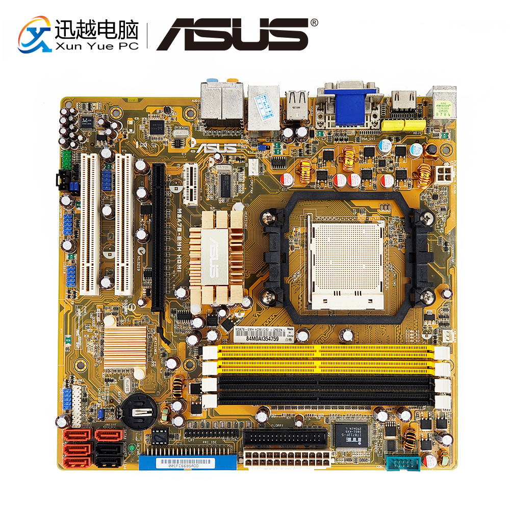 Asus M3A78-EMH HDMI Desktop Motherboard For AMD 780G Socket AM2/AM2+ DDR2 SATA USB2.0 VGA DVI HDMI Micro ATX for gigabyte ga ma78g ds3hp original used desktop motherboard for amd 780g socket am2 for ddr2 sata2 usb2 0 atx