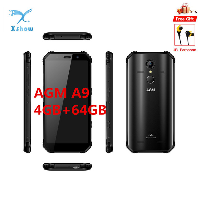"AGM A9 IP68 Mobilephone Android 8.1 4GB 64GB 5.99"" 18:9 FHD+ 5400mAh Snapdragon 450 Front 16MP Rear 12MP Fingerprint NFC Phone"