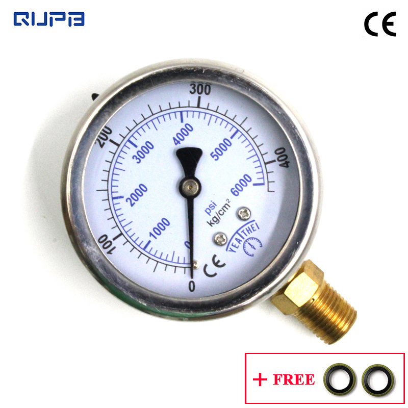 QUPB PCP Paintball 2.5'' Oil Filled Diving Pressure Gauge 400Bar 6000PSI SS Case Copper Connection 63MM 1/4PT Thread  GEL004