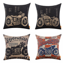 LINKWELL 45x45cm Rustic American Style Motorcycle Man Cave Garage Burlap Cushion Covers Pillowcase Home Decor Sports