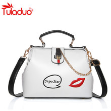 2017 Fashion Women's Handbag Chains Crossbody Bag Lipstick Women Shoulder Bags Ladies PU Messenger Bag Lip Embroidery Sac a Main