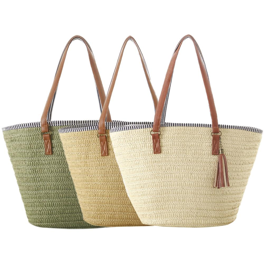Women Beach Straw Bag Pure Color Single Shoulder Bag Natural Fashionable Woven Tassel Bags For Women Brand NewWomen Beach Straw Bag Pure Color Single Shoulder Bag Natural Fashionable Woven Tassel Bags For Women Brand New