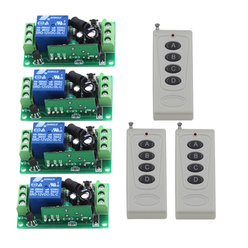 DC 12V 10A 1 CH 150M RF Wireless Remote Control Switch System 315/433 MHZ 3 Transmitters + 4 Receiver 4229 24v 4 channel rf wireless remote switch control light switch system 4 ch receiver 2 transmitters in 433 92mhz