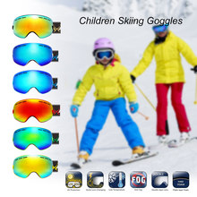 Anak Ski Snowboarding Skating Kacamata UV Perlindungan Anti-Kabut Lebar Bulat PC Lensa Anti-Slip Tali Helm Kompatibel(China)