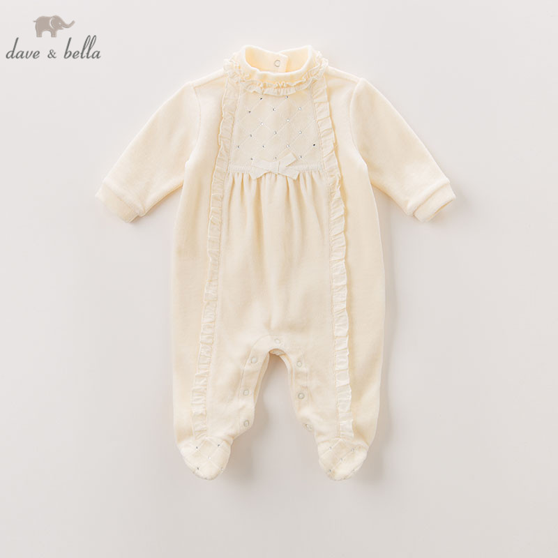Dave Bella Autumn New Born 0-12 Month Baby Girls Cotton Romper Infant Clothes Girls Cute Romper Baby 1 Piece DB6051