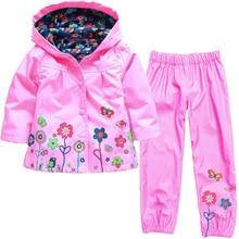 Girls Raincoat Clothing Sets Sport Suit Tracksuit Children Clothes Suits Raincoat Coats Jackets Costume Girl Kids Clothes Set