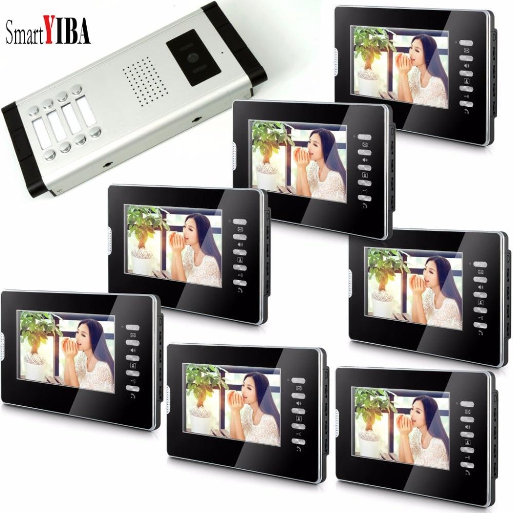 SmartYIBA 7''Inch Monitor Wired Door Bell Video Intercom Door Phone Door Visual Phone System Outdoor Camera For 8 Apartment