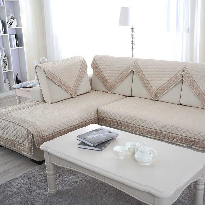 2018 New Modern style Lace grey Beige quilted Breathable Sofa Slipcovers Flax sectional sofa cover fundas de sofa couch covers ...