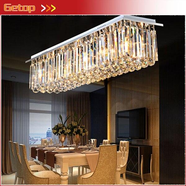 Современные хрустальная люстра Ресторан Огни Прямоугольные светодио дный Crystal Light Гостиная потолочный Люстра светильники бар