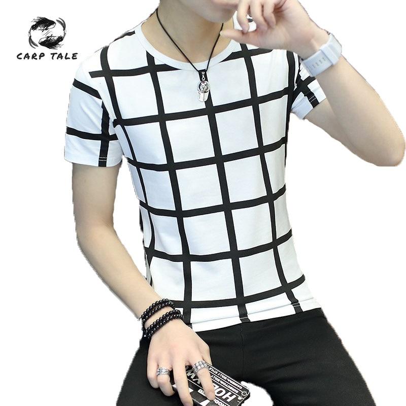CARP TALE Cotton Short Sleeve T-Shirt Men Brand Clothing 2019 Spring Summer New Fashion Striped Print O-Neck Tee Shirt Tops