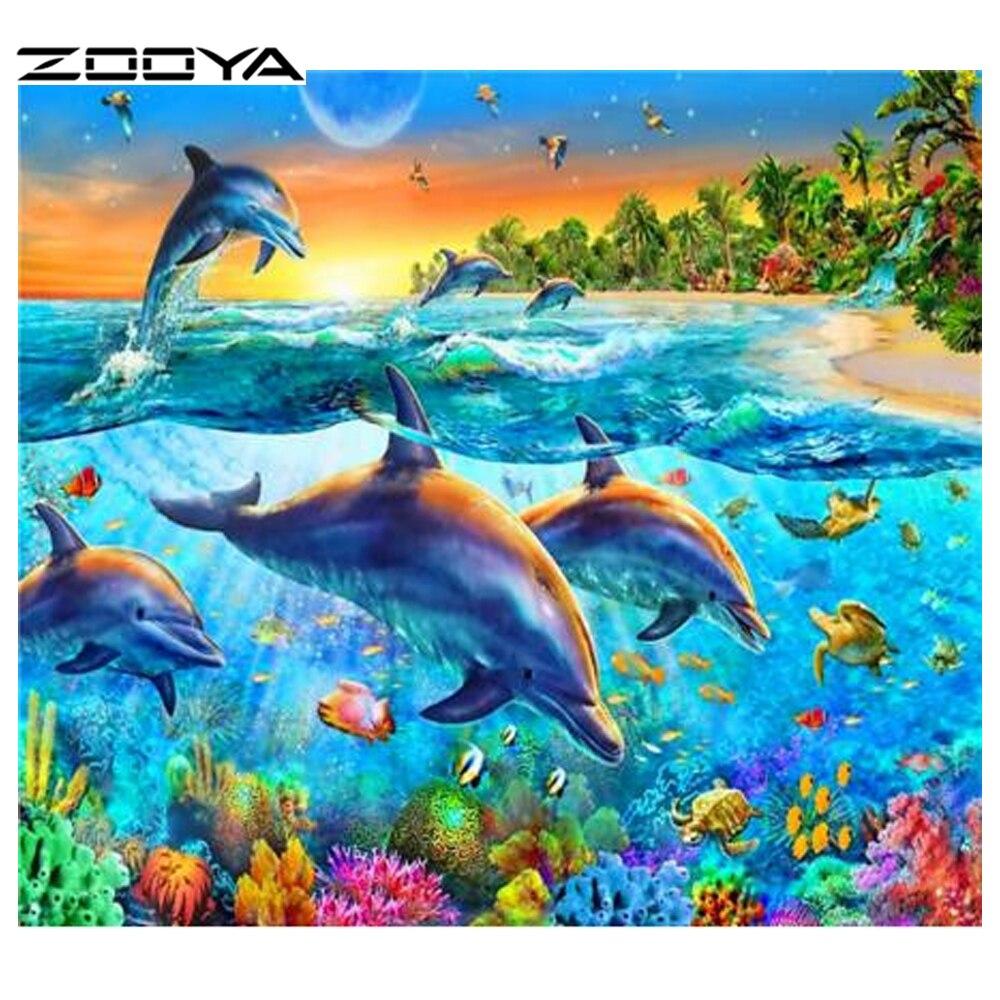 ZOOYA gyémántfestés delfin tájkép teljes gyémánt - Művészet, kézművesség és varrás