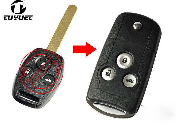 Blank Modified <font><b>Flip</b></font> Folding <font><b>Remote</b></font> Key Shell 3 Buttons for <font><b>Honda</b></font> <font><b>Accord</b></font> CRV Civic Odyssey image