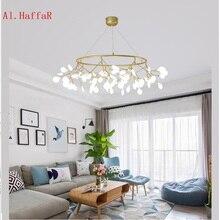 LED מודרני firefly עגול נברשת אור אופנתי עץ סניף תליון מנורת דקורטיבי מעגל chandelies תליית Led תליון