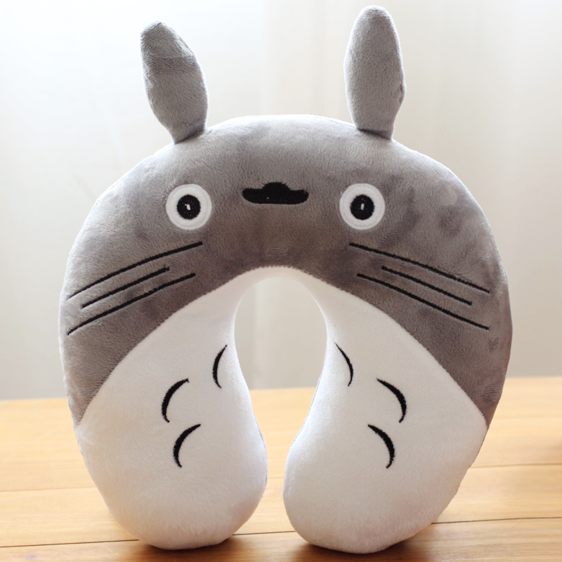 candice guo! cute plush toy cartoon gray Totoro neck protect pillow U-shaped nap pillow birthday gift 1pc neck support nap pillow
