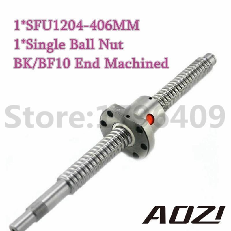 ФОТО 1 Set Kit 1 pc BallScrew SFU1204 Length 406mm + RM1204 Ball Nut + BK/BF10 End Machined /Free Shipping