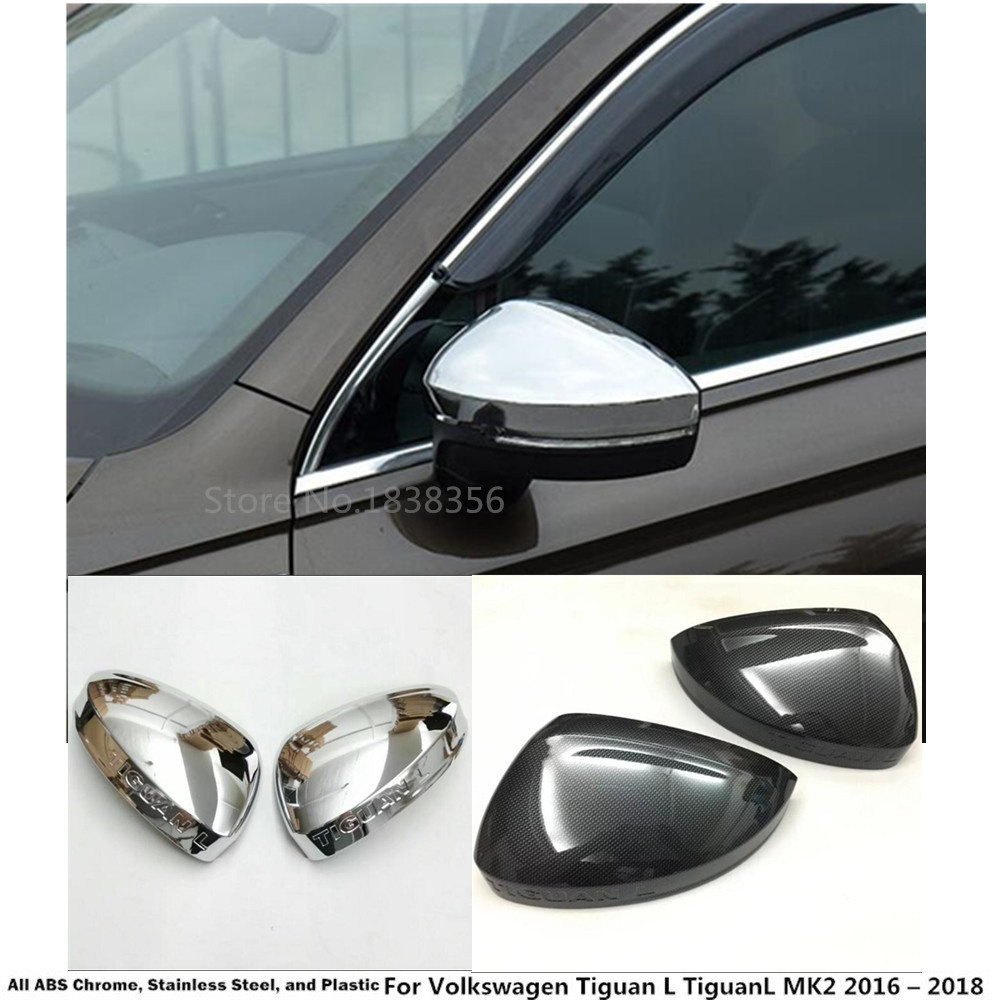 2PCS Chrome Rear view Side Mirror Cover Decorate Trim For VW Tiguan 2017-2019