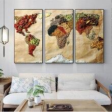 3 pósteres de pared de mapa del mundo Vintage arte Pop moderno de todo el grano cuadros de lienzo cuadros de mapa para decoración de pared de habitación de cocina