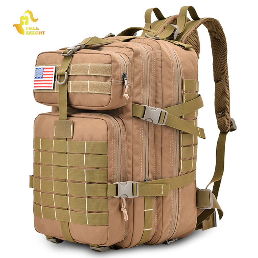 Free Knight 45L Military Tactical Backpack Assault Pack Army Bag Molle Trekking Travel Bag Water Resistant Camping Hiking Bag lqarmy 3 day expandable backpack with waist pack large rucksack tactical backpack molle assault bag for day hiking tan