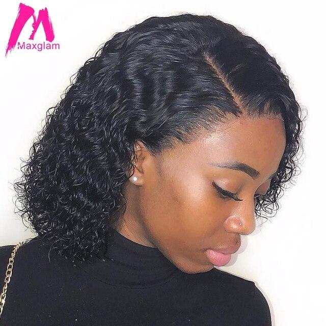 Rizado Peluca de cabello humano brasileño corto Bob pelucas de cabello humano para las mujeres negras final completo de 130 de 150 a 250 densidad Peluca de encaje