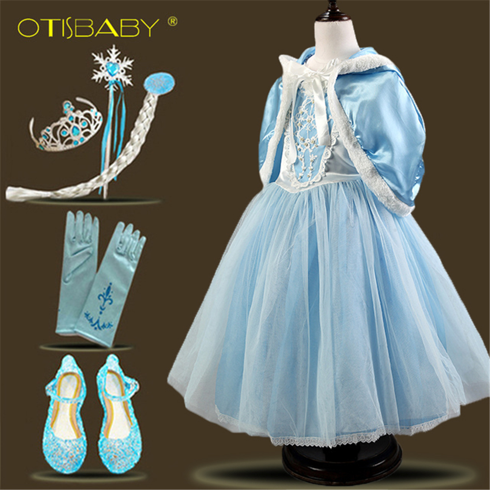 2018 Christmas Fantasia Elsa Anna Princess Dress Cloak Snow Queen Costume Toddler Girl Cinderella Fancy Dresses for Halloween цена 2017