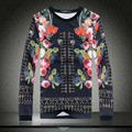 Europe Style Mens Casual Clothing 3D Print Flowers Graphic Sweatshirts Long Sleeve Pullovers Hip Hop Streetwear Tops Tracksuit