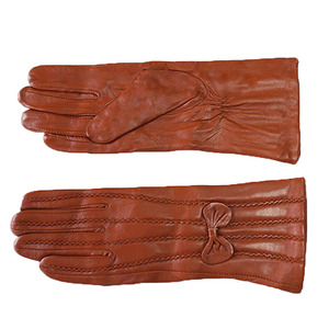 Image 5 - Leather sheepskin gloves womens mid length stripes plus velvet warm autumn and winter windproof free shipping