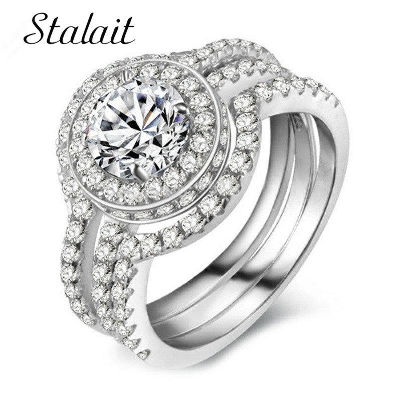 Sterling Silver Wedding Sets.Us 2 61 40 Off Engagement Rings For Women 925 Sterling Silver Wedding Rings Sets With Rhinestones Cubic Zirconia Jewelry Anillo Mujer In Rings From