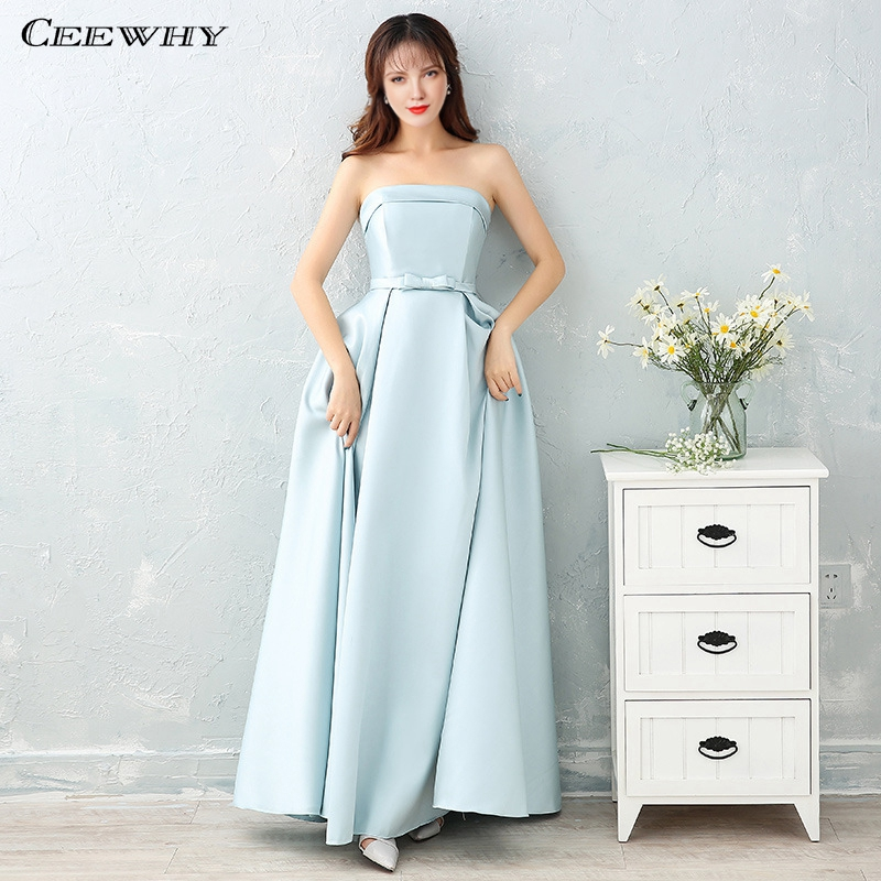 Long Gowns For Wedding Guests: CEEWHY Satin Long Pink Dress For Wedding Party Wedding