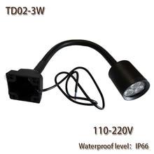 HNTD 3 W 110 V/220 V AC LLEVÓ la Lámpara Varilla Suave 4 Tornillo de fijación impermeable IP66 TD02 Focos LED de trabajo de la Máquina CNC venta Caliente