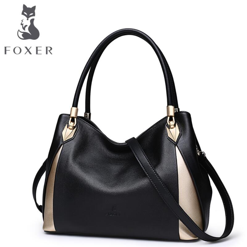 free delivery Cow leather handbag FOXER Women's handbag 2017 autumn new fashion Messenger bag Leather shoulder bag Tote cow leather handbag free delivery new leather women bag retro shoulder messenger bag leisure bucket bag