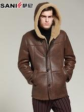 8617d63d4ce Chaqueta de cuero genuino de los hombres de piel de oveja de abrigo  coldproof invierno grueso natural abrigos de piel con capuch.
