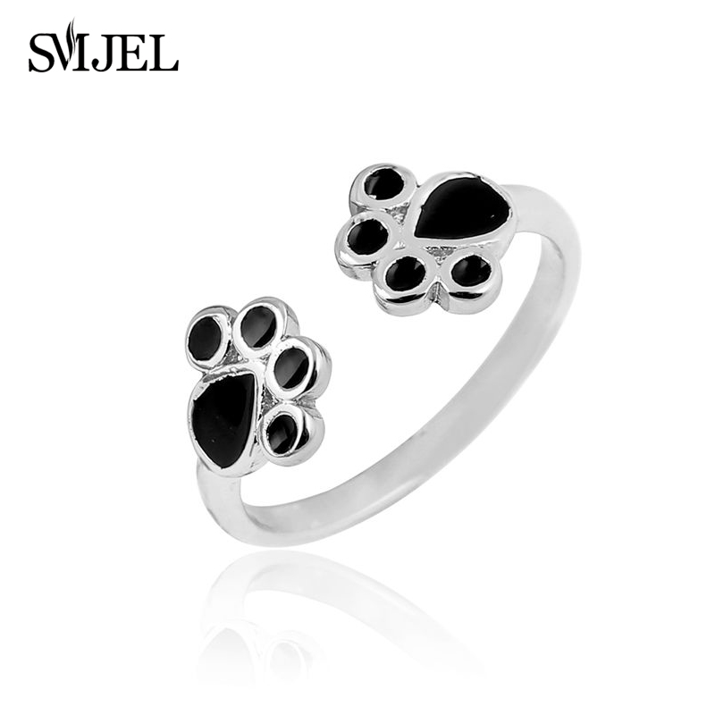 19b26d469289 SMJEL New Fashion Silver Cat Paw Rings for Women Cute Animal Black Oil Pug  Dog Paw