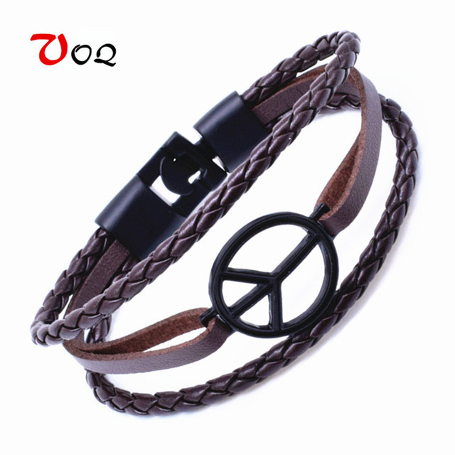 2017 Fashion Peace Bracelet Suitable For Sports Leather Rope Chain Men And Women Vintage Friendship