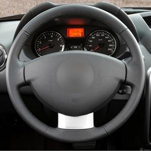 Image 3 - GKMHiR Steering Wheel Cover DIY Black Artificial Leather Car Steering Wheel Cover for Renault Duster Dacia Duster 2011 2015