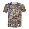 Mulheres Homens 3d Tops Original 150 Pokemon 8-Bit Colagem T-Shirt 90 s Video Game E Anime Personagens de Impressão 3d T Camisa Dos Desenhos Animados T