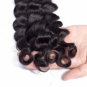 Image 4 - VSHOW البرازيلي فضفاض موجة عميقة 100% نسج على شكل شعر إنسان تمديدات شعر ريمي 1/3/4 حزم اللون الطبيعي فضفاض موجة عميقة حزم