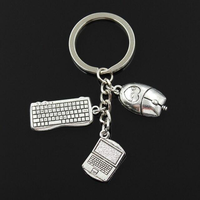 LLavero de cadena de 30mm de moda joyería de plata para ordenador portátil teclado ratón colgante