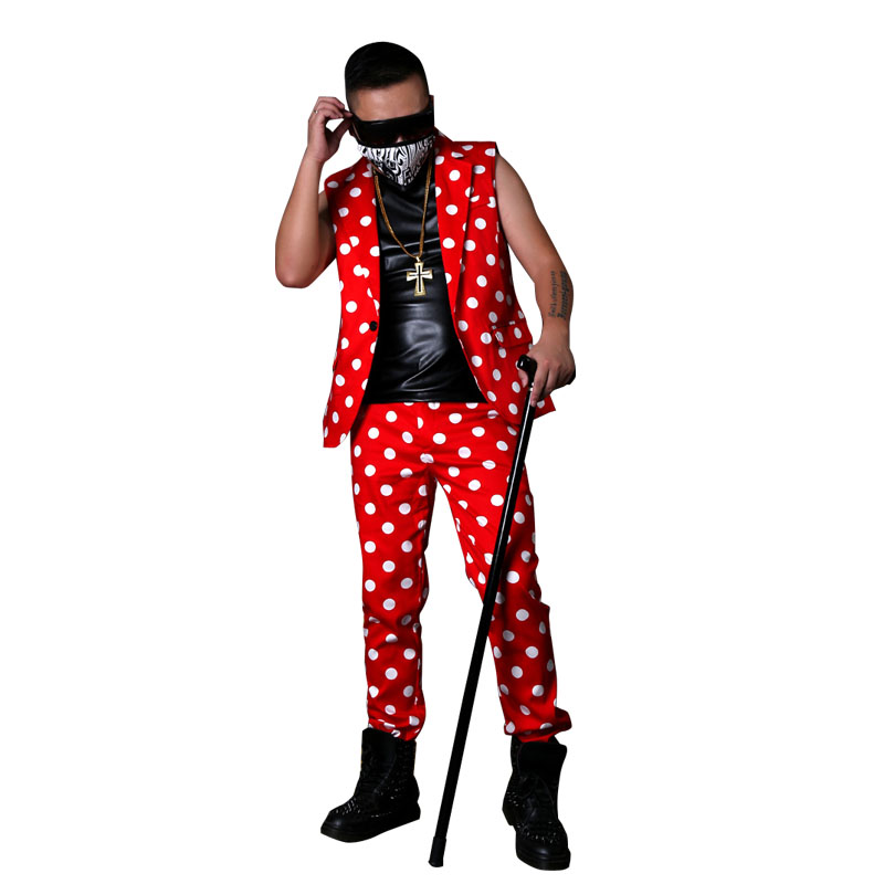 Men Red Dot Casual Slim Fit Suits Sets (vest+pant) Male Fashion Hip Hop Blazer Vest Stage Clothing Made Costumes
