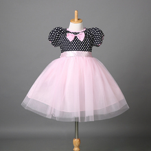 2016 Baby Girls dress!!summer girls bow patchwork pink lace polka dot party dress