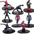 8 Pcs Vermelho e preto Spiderman figuras de ação brinquedos para as crianças 2016 Novo Super Herói homem aranha figurins DIY brinquedos festa suprimentos