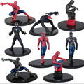 8Pcs Red and black  Spiderman action figures toy  for kids 2016 New Superhero spider man figurins DIY  brinquedos party supplies
