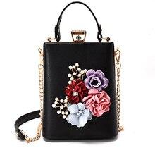 Mode Frauen Kette Taschen Elegante Blumen Falp Messenger Taschen Für Damen 3D Blumen Crossbody Taschen Weiblichen Casual Handtaschen 2017 Neue