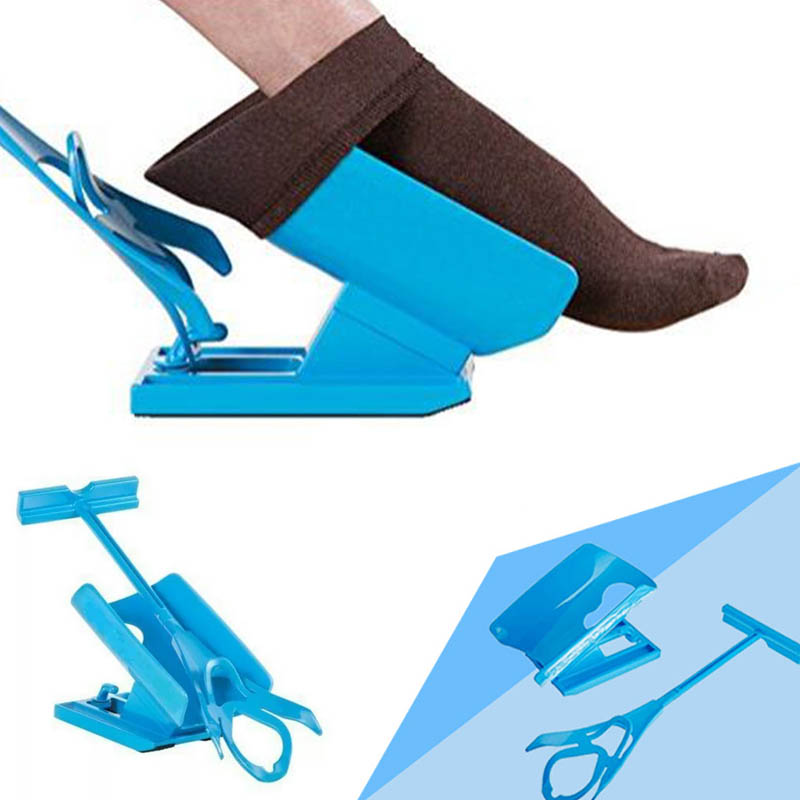 1 PC Injuries Supplies Elderly Helper Wearing Sock Aids  Unique Cradle Design Portable Plastic System sock slider aid blue helper kit help