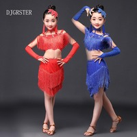 DJGRSTER Latin Dance Dress For Girls Samba Dress Ballroom Dancing Dress Girl Dancewear Kids Costume Ballet