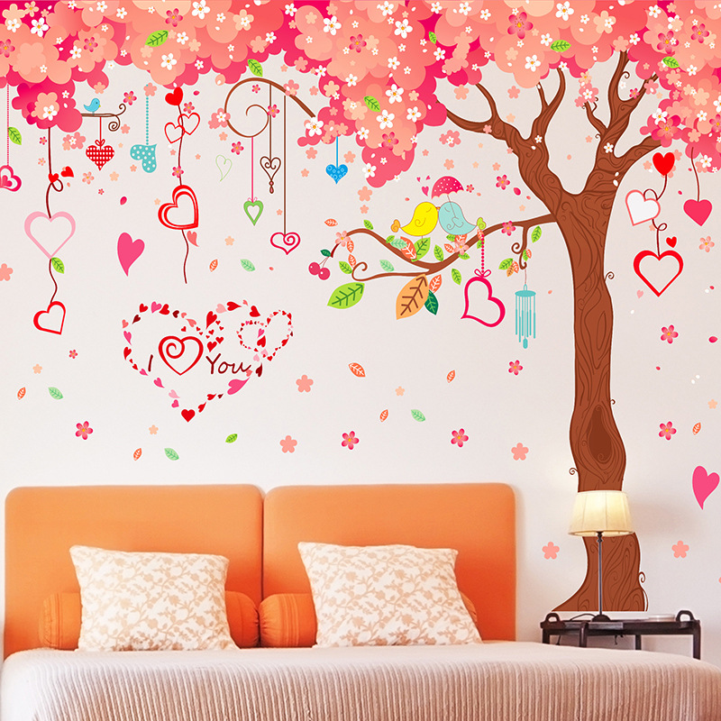 Large 360*200cm Big Size Wall Sticker Pink Cherry Blossoms Love Tree Home Decor Wall Dec ...