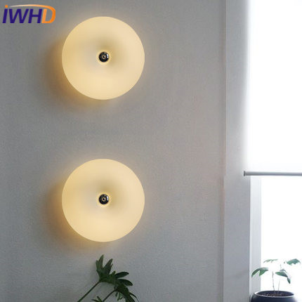 IWHD Modern LED Wall Light Up Down Fashion Glass Wall Lamp Sconce Home Lighting Fixtures Bedroom Stair Lights Wandlamp Lustre