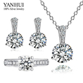 YANHUI 925 Sterling Silver Jewelry Sets 6mm 1 Carat CZ Diamond Ring Necklace Earrings Set Bridal Jewelry Sets For Women HS039
