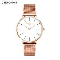 CHRONOS Quartz Watch Men Women Boy Girl Rose Gold Casual Quartz Watch PU Leather Watch 40mm