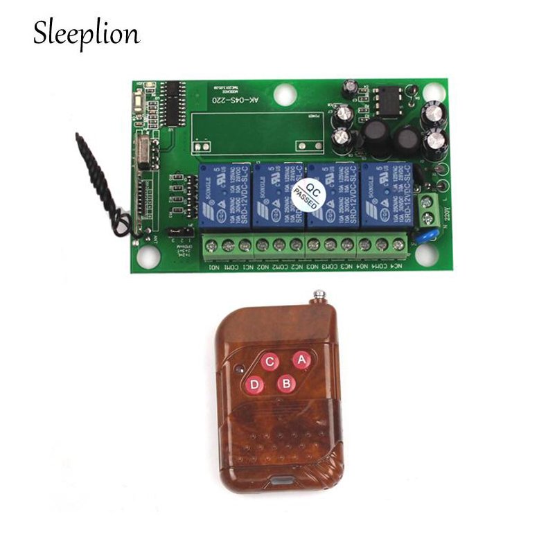 Sleeplion 85v~250V 110V 220V 230V 4CH RF Wireless Remote Control Relay Switch Security System Garage Doors Rolling Gate 315mhz 433mhz ac 85v 250v 4ch rf wireless remote control switch 3pcs transmitter and receiver for rolling gate electric doors